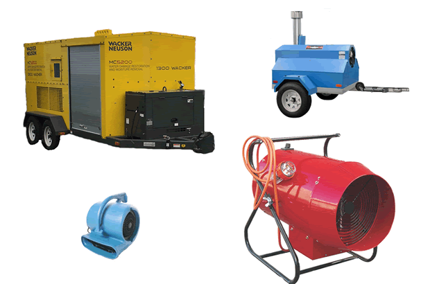 Specialised subfloor drying trailer and mounted ground subfloor drying equipment
